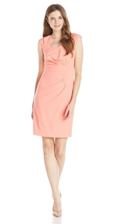 Calvin Klein Womens Cap Sleeve Side Rouched Sheath Dress