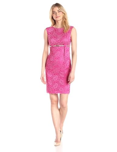 Calvin Klein Womens Empire Waist Belted Lace Sheath Dress