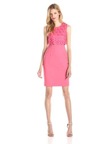 Calvin Klein Womens Lace Pop Over Sheath Dress