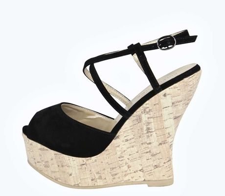 Catherine Peeptoe Multi Strap Cork Wedges
