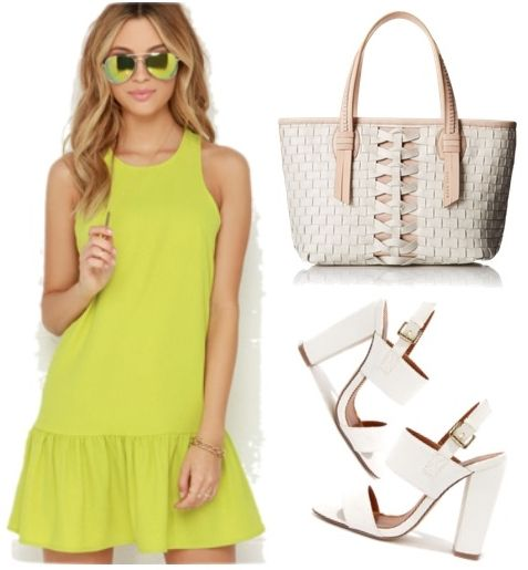 Chartreuse Drop Waist Dress