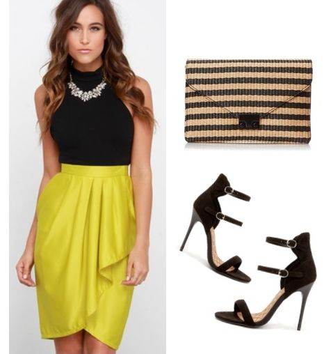Chartreuse High-Low Wrap Skirt