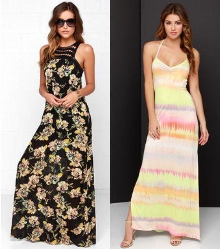 Chartreuse Print Maxi Dresses