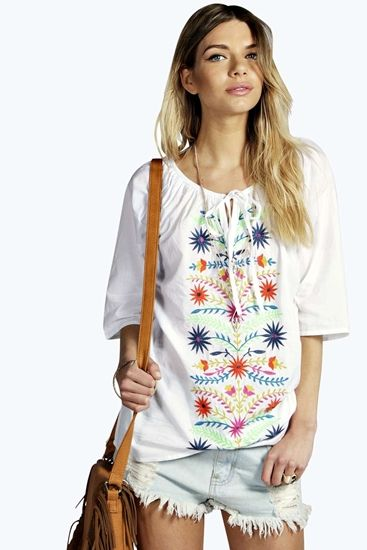 Julia Bright Heavily Embroidered Woven Top