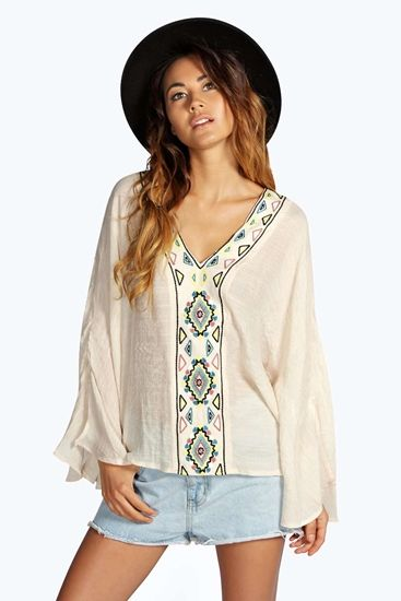 Lily Embroidered Kaftan Top