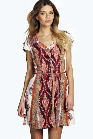 Lisa Paisley Cutout Shirt Dress