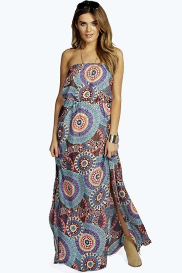 Lorelei Woven Printed Bandeau Side Split Maxi Dress