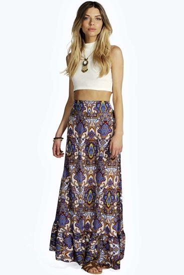 Louella Paisley Ruffle Hem Maxi Skirt