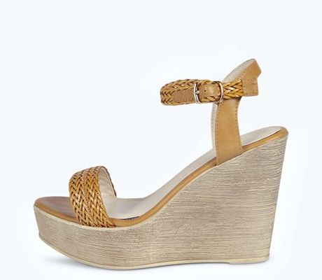 Lucy Plaited Strap Wood Effect Wedges