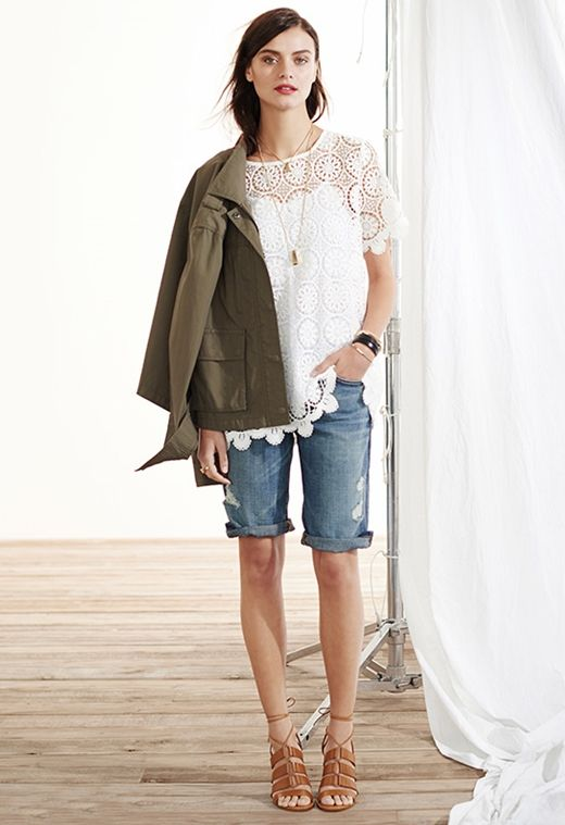 Military Jacket + Denim Shorts