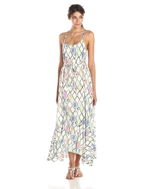Plenty by Tracy Reese Womens Printed Flounce Hem Maxi Dress