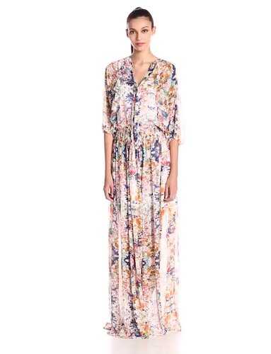 Rebecca Minkoff Womens Shadow Floral Print Sleeved Maxi Dress
