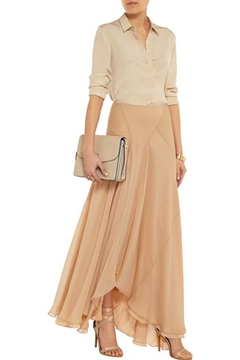 Silk-blend georgette maxi skirt