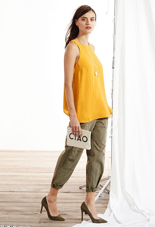 bright tank + army green utility crop pants