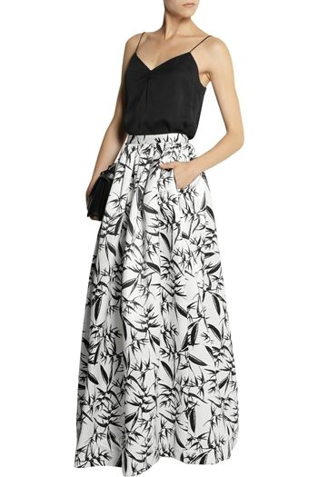 pleated satin maxi skirt