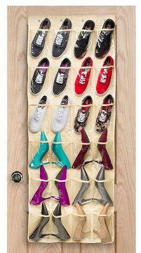 Halter Over the Door Shoe Organizer with 24 Pockets