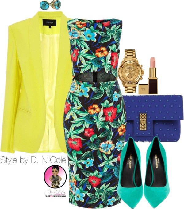 Yellow Jacket + Floral Bodycon for Work