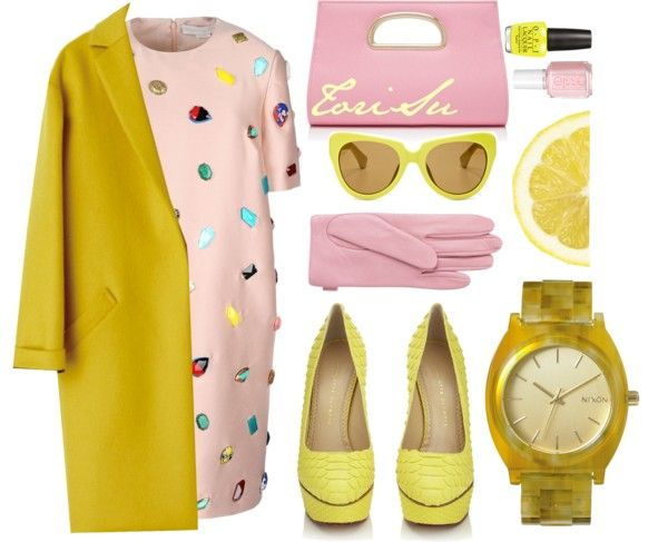Yellow Outerwear + Embellished Dress