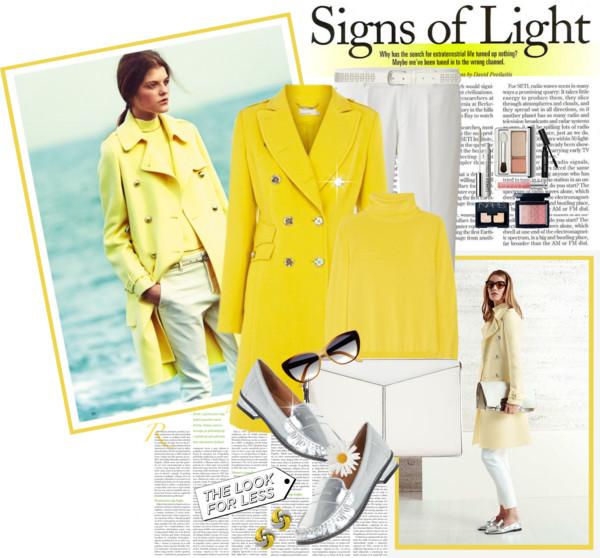 yellow coat + white pants