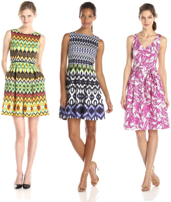 Busy Print Fit and Flare Dress