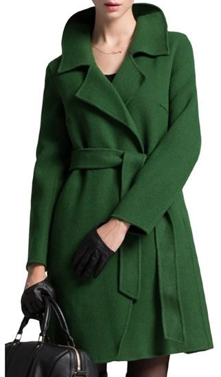 CSY Womens Slim Fit Turndown Collar Belted Cloak Trench Coat Wool Coats