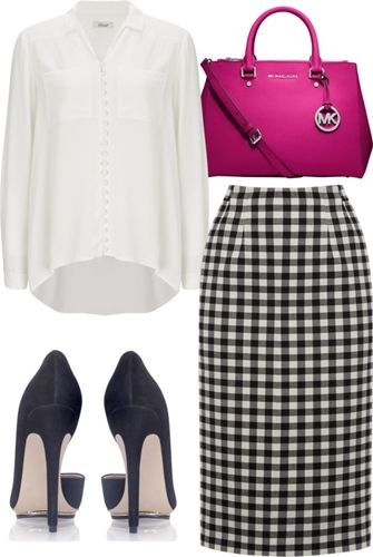 Gingham Pencil Skirt for the Office