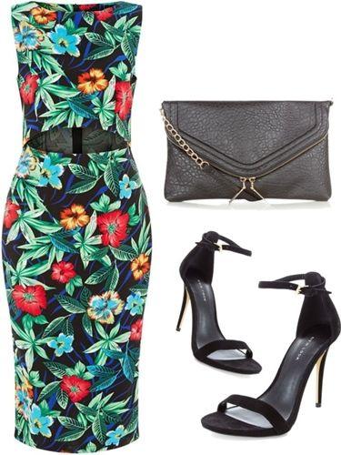 Green Tropical Print Cutout Front Dress