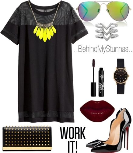 black + studded t-shirt dress outfit