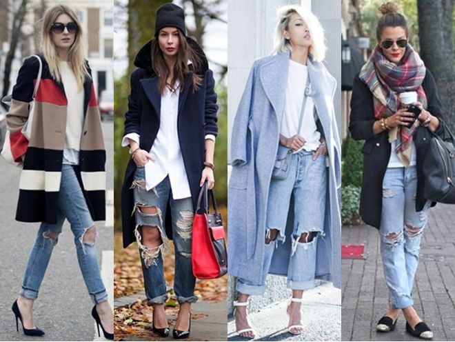 distressed jeans + coat outfits for fall