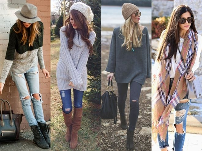 distressed jeans + sweater layering outfits for fall