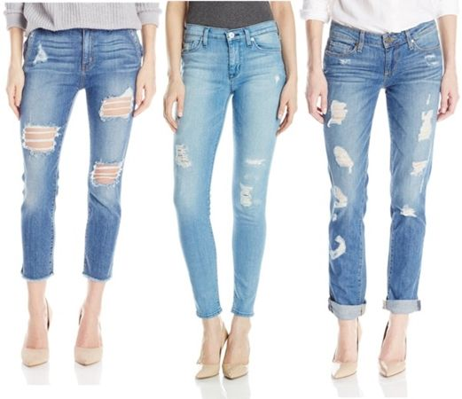 faded-washed distressed jeans