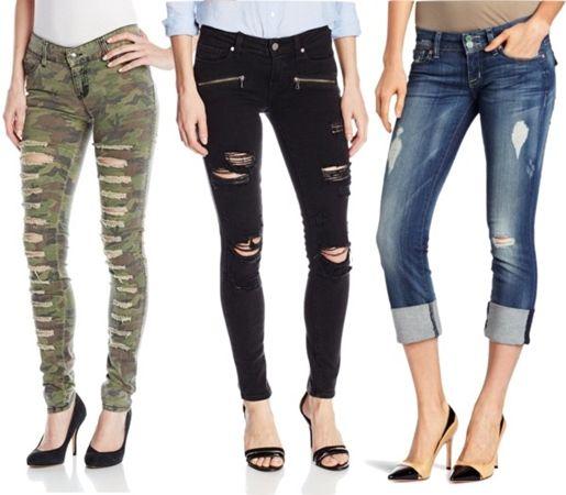 gutsy + striking distressed jeans