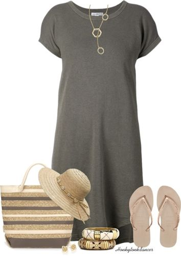 neutral look with t-shirt dress