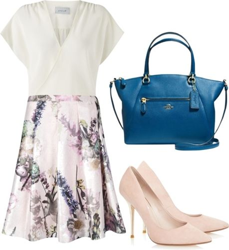 printed office skirt outfit1