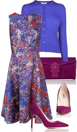purple watercolor print dress for fall
