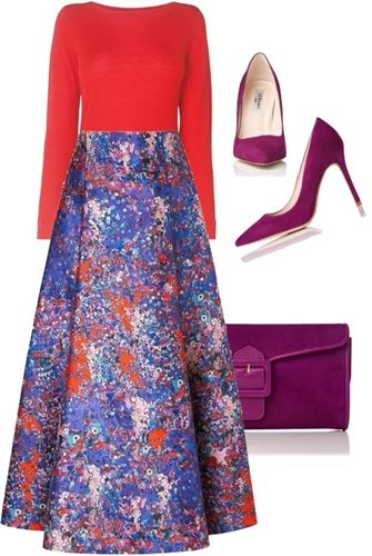 red sweater + purple print skirt