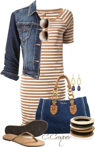 stripe t-shirt dress with denim