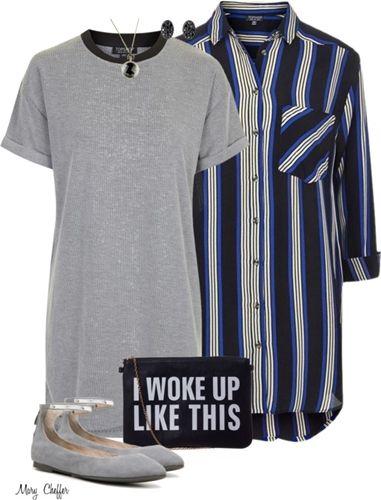 t-shirt dress + oversized shirt outfit