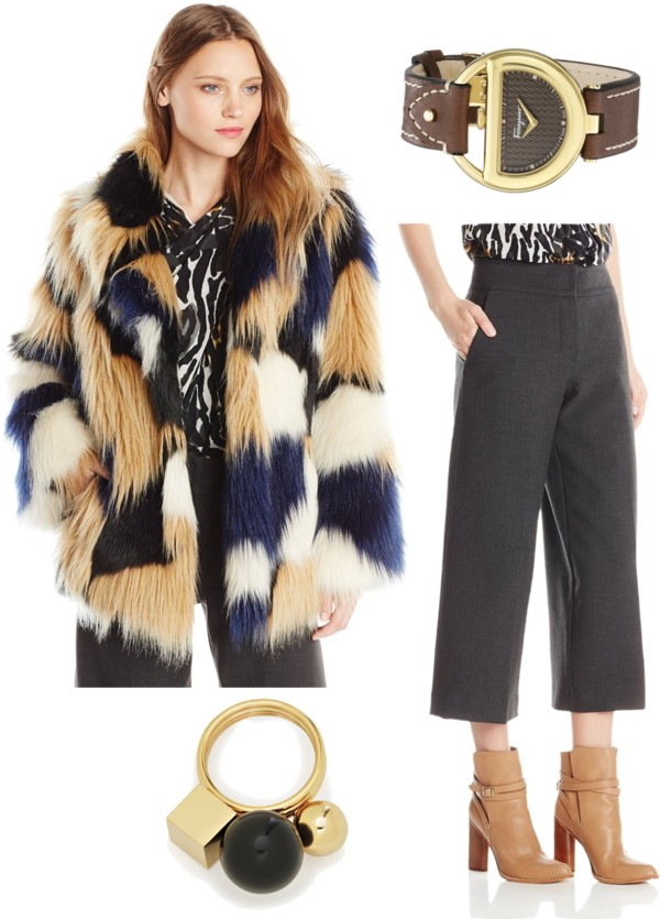 70s style fauy fur coat and suiting crop pants
