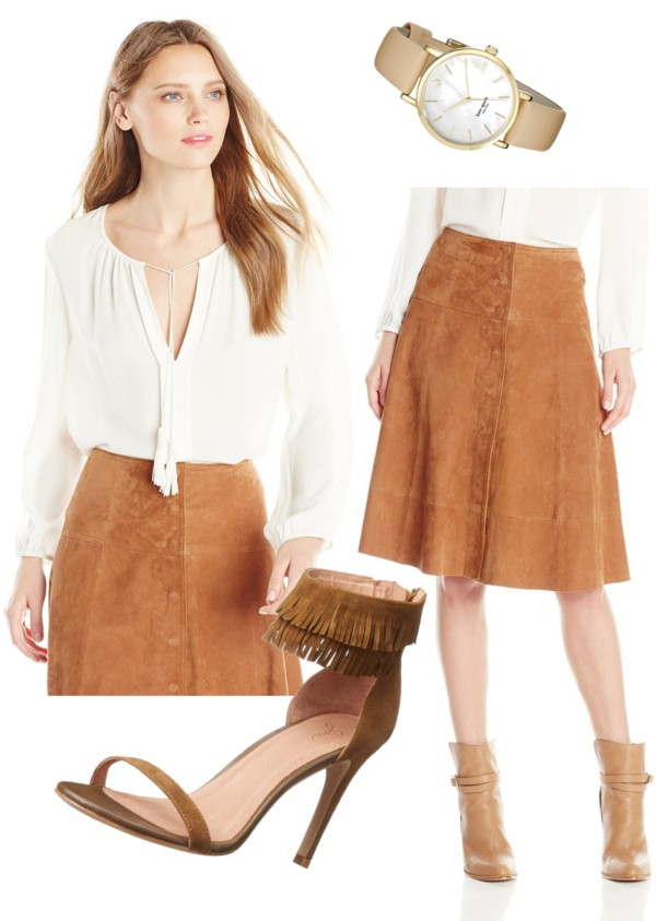 70s style peasant blouse + suede skirt