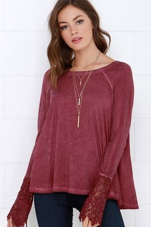 Black Swan Drizzle Washed Burgundy Lace Top