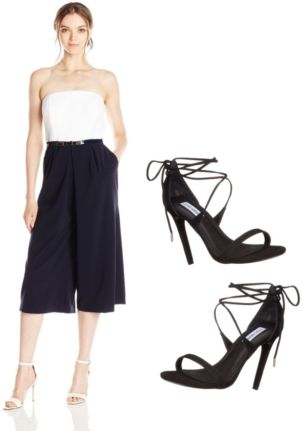 Black and White Strapless Culottes Jumpsuit