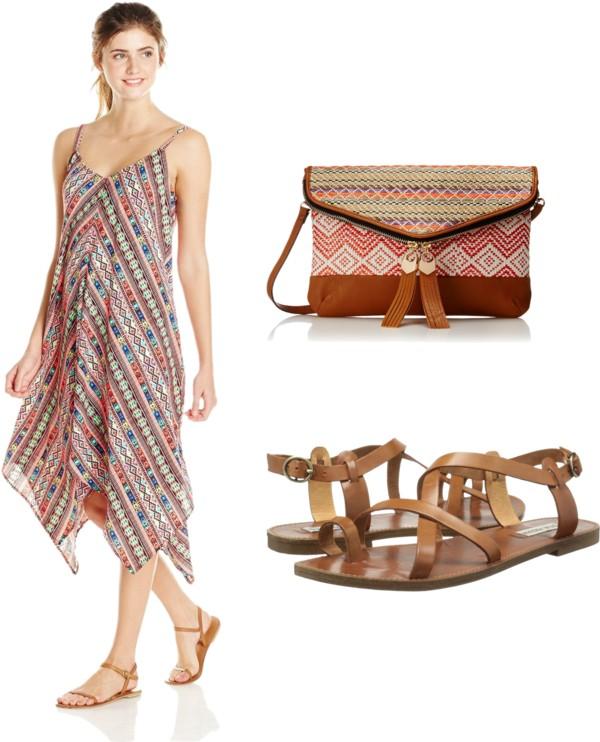 Bohemian Style V Neck Strappy Dress