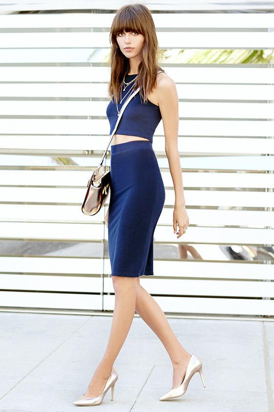 City Breeze Navy Blue Two-Piece Midi Dress