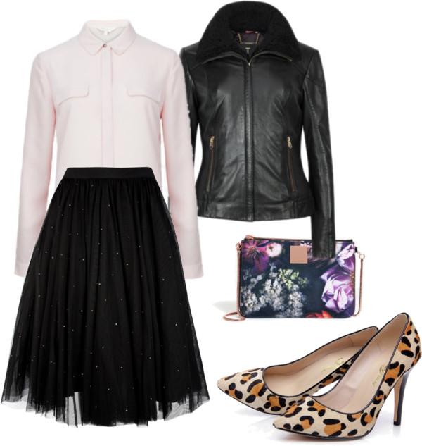Detailed Pink Shirt + Embellished Black Tutu Skirt Outfit