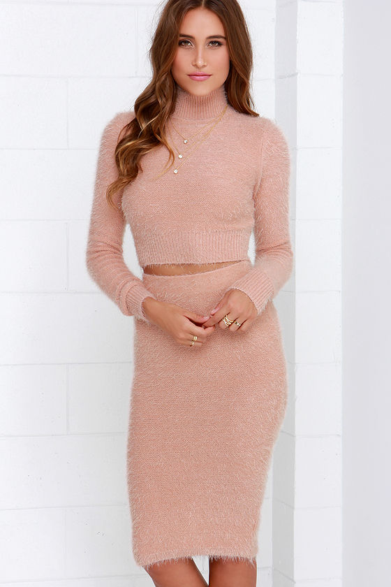 Fluff Around the Edges Blush Two-Piece Dress