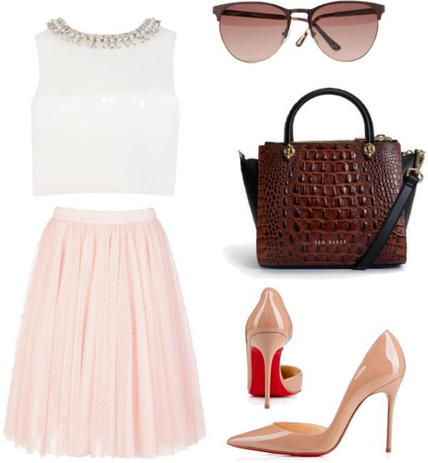 Ivory Top + Embellished Pale Pink Tutu Skirt Outfit
