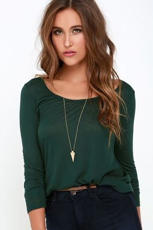 Obey Lauryn Dark Green Long Sleeve Top