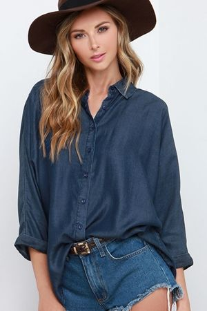 Olive & Oak Challenge Accepted Dark Blue Chambray Button-Up Top