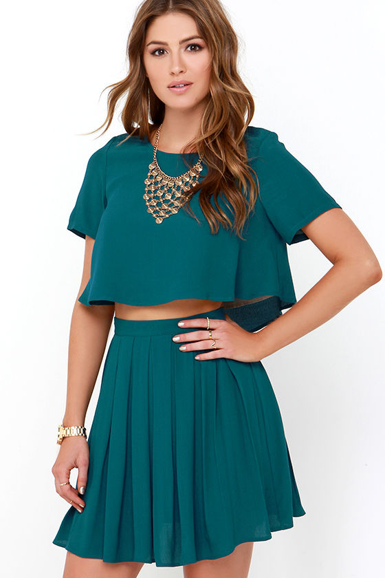 One and the Same Dark Teal Two-Piece Dress